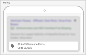 AdWords Promotions Extensions - Mobile Example