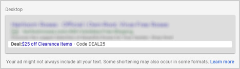 AdWords Promotions Extensions - Desktop Example